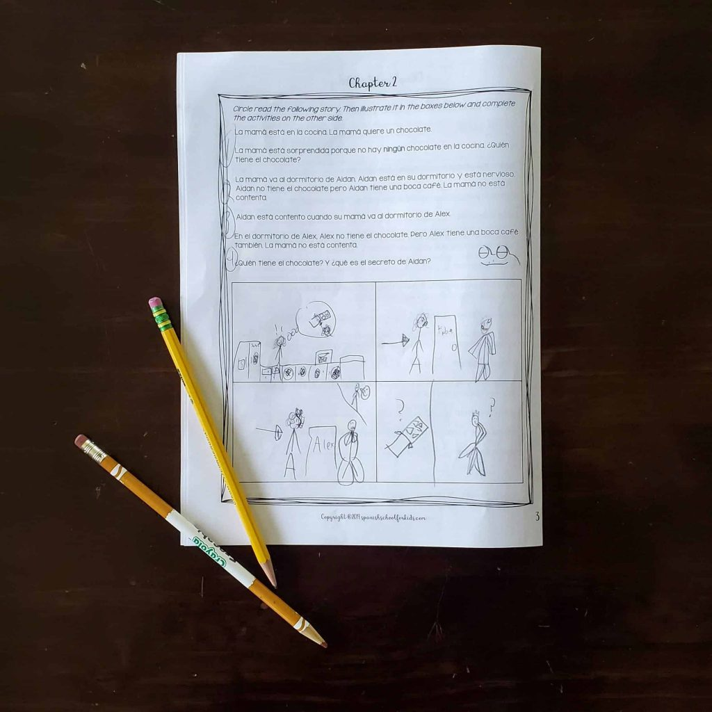 mini workbook with reading and activity for feelings in spanish