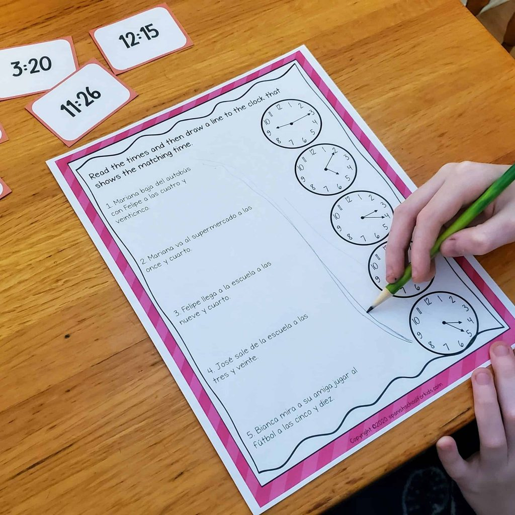 spanish reading activity to practice time