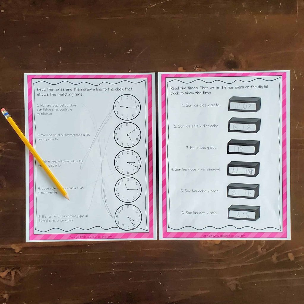 spanish reading activity to start learning how to tell time in spanish