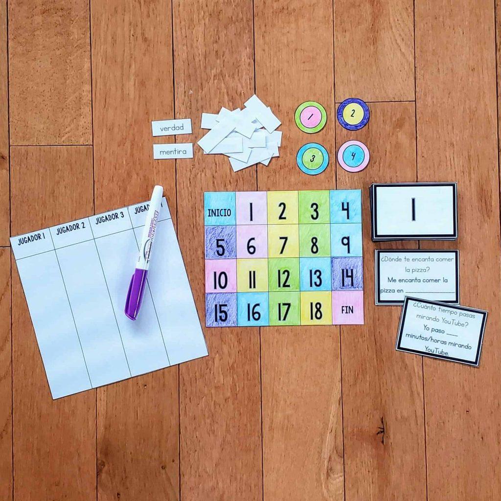 set up of mentira spanish game