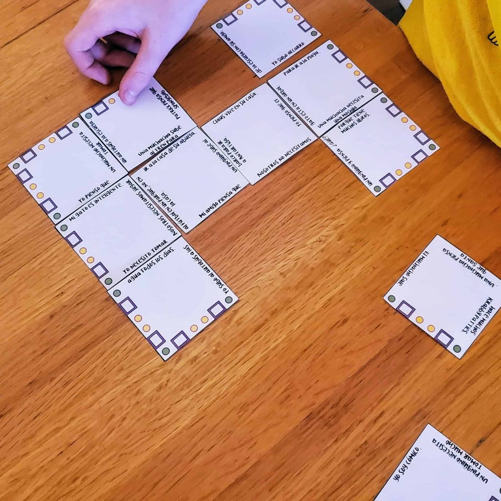 putting together spanish puzzle to practice reading