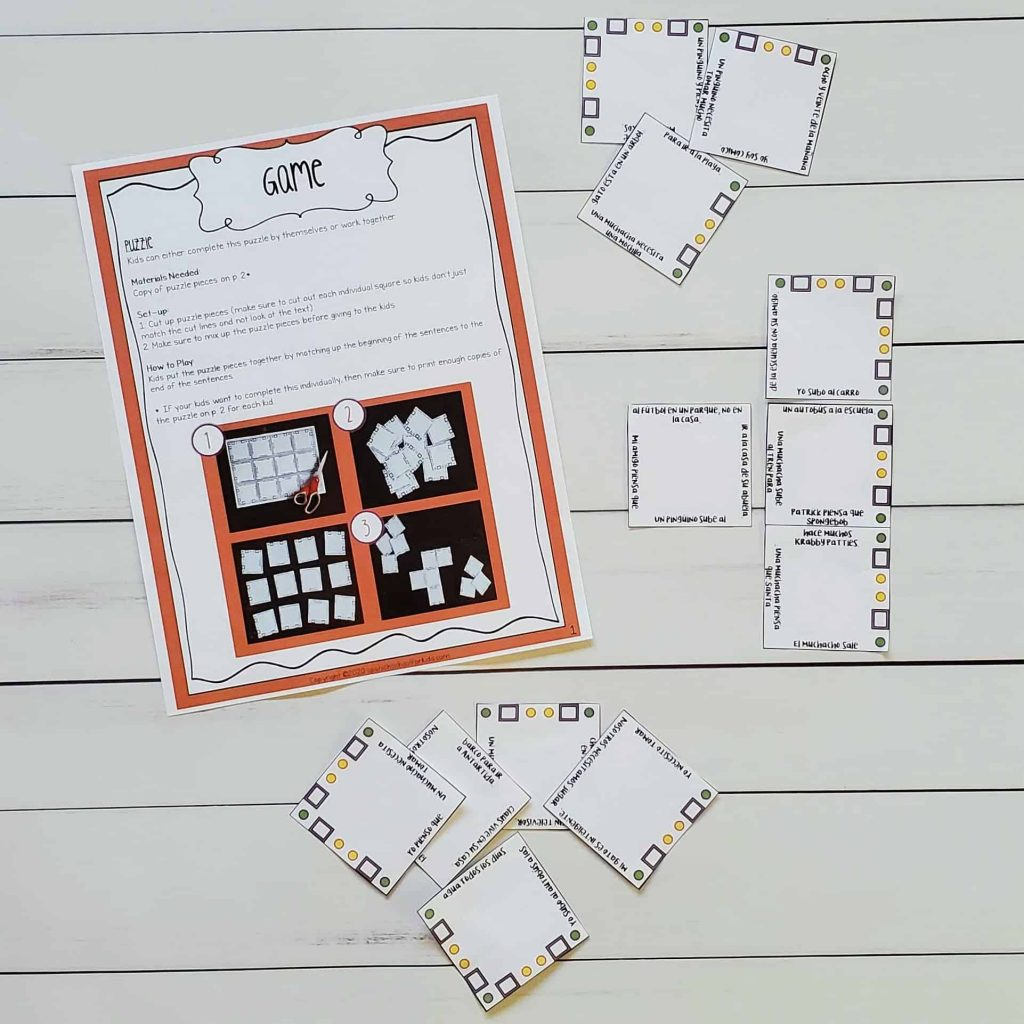 spanish game spanish puzzle to practice reading in spanish