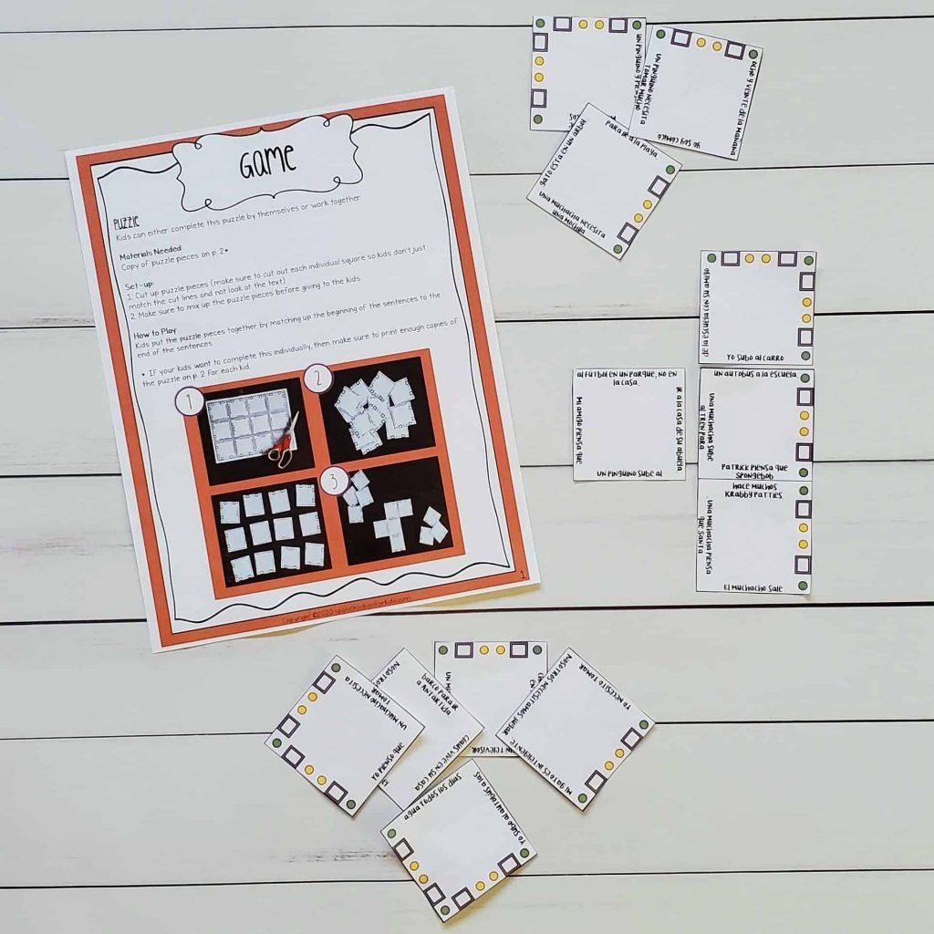spanish game spanish puzzle to practice reading in spanish