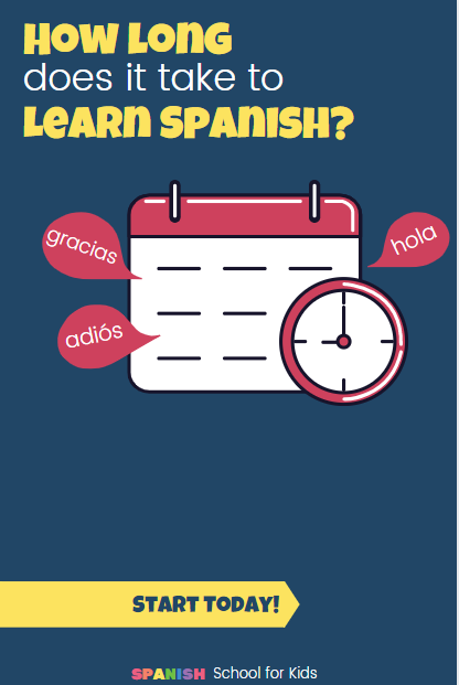 a pin with a clock and calendar for how long does it take to learn Spanish?