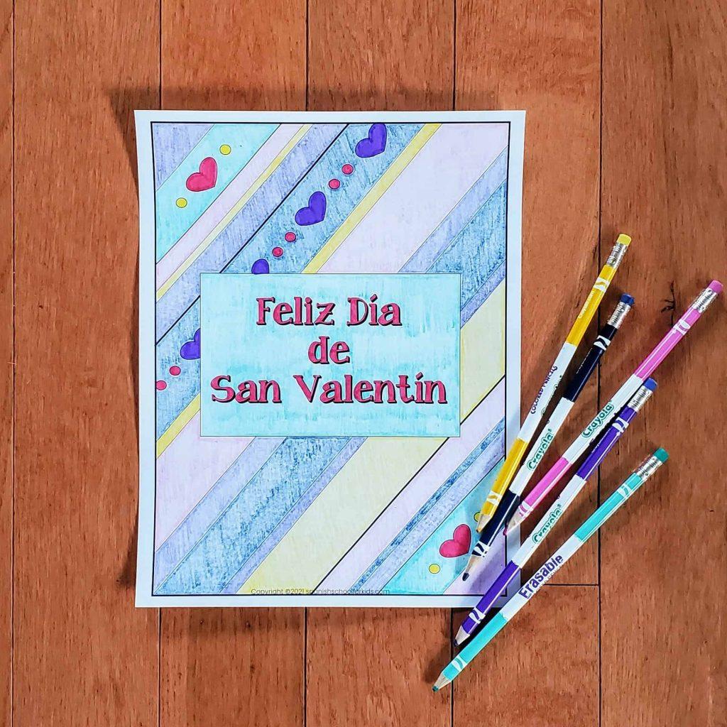 spanish coloring sheet with spanish valentine phrase