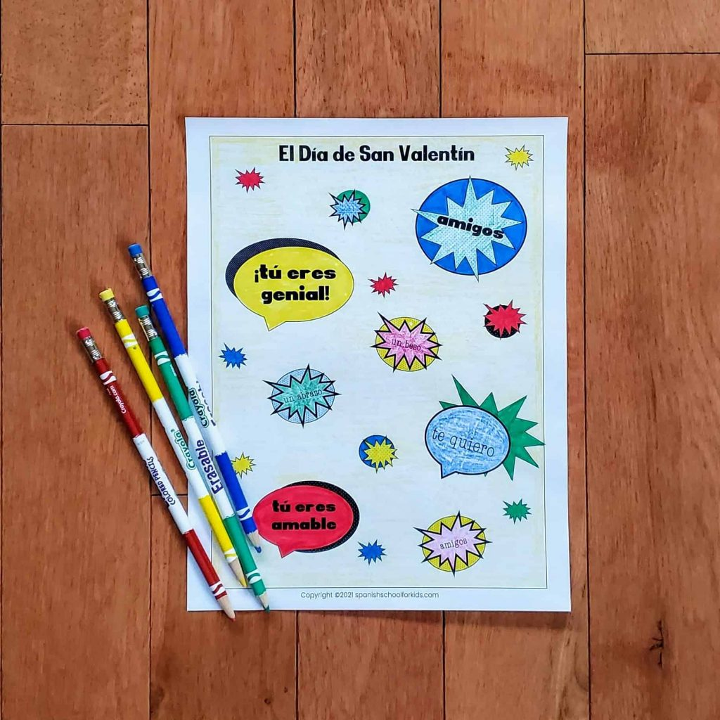 spanish valentine coloring sheet with spanish valentine's day phrases with a comic book feel instead of hearts