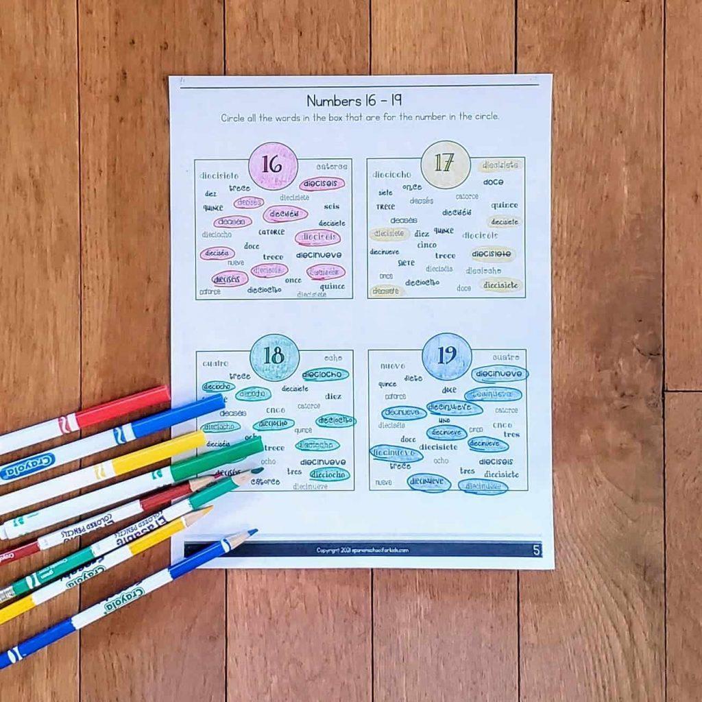 spanish numbers 16 to 20 free worksheet